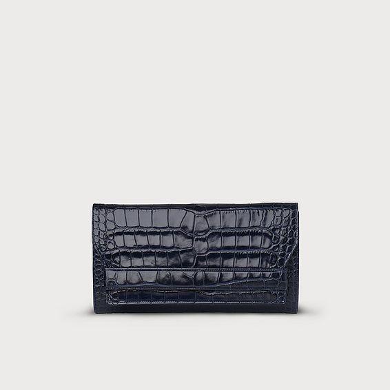 Mariel Navy Croc Shoulder Bag