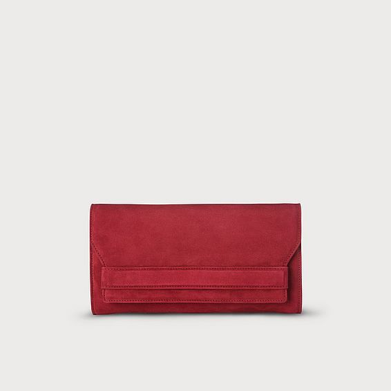 Ella Red Suede Clutch