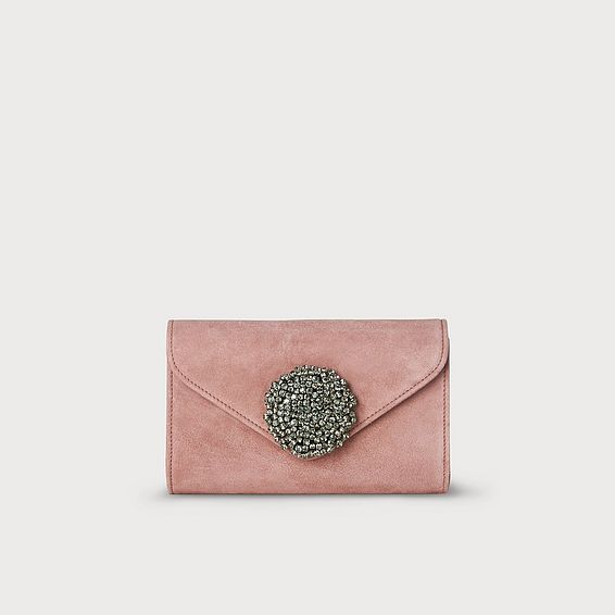 Sissi Pink Suede Clutch