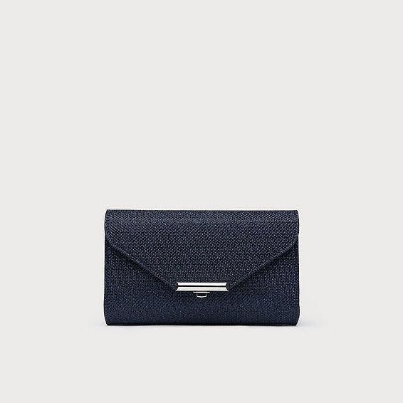 Sissi Navy Lurex Fabric Clutch