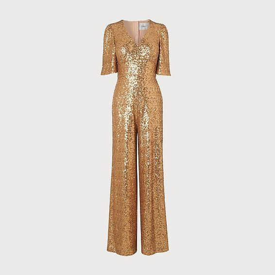 Hutton Gold Sequin Jumpsuit