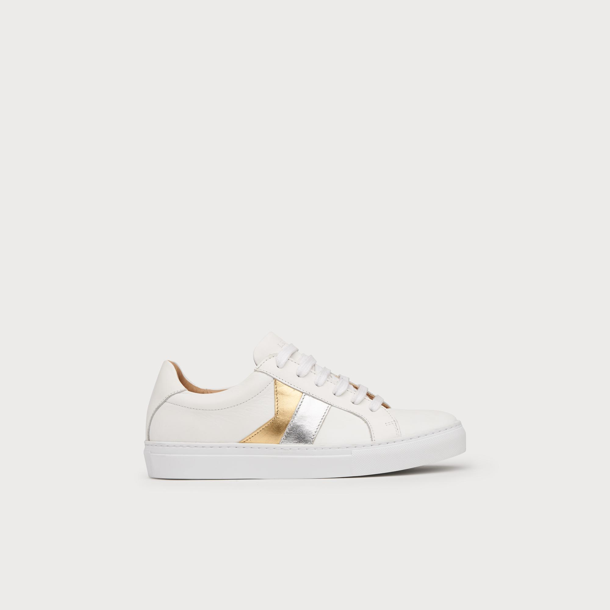 5ca1867b8 Alivia Silver Gold Leather Lace Up Trainers