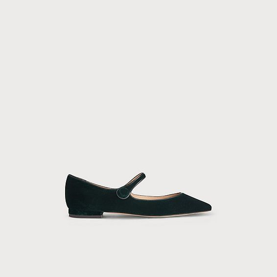 Mary-Jane Green Velvet Flats