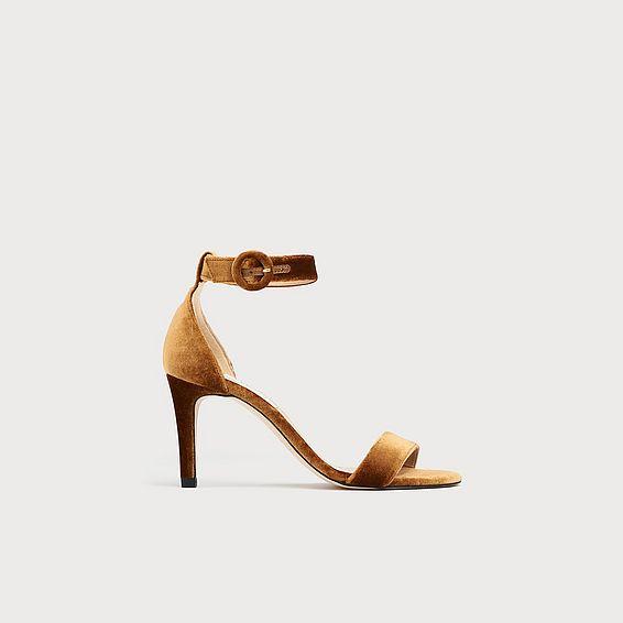 Dora Bronze Velvet Sandals