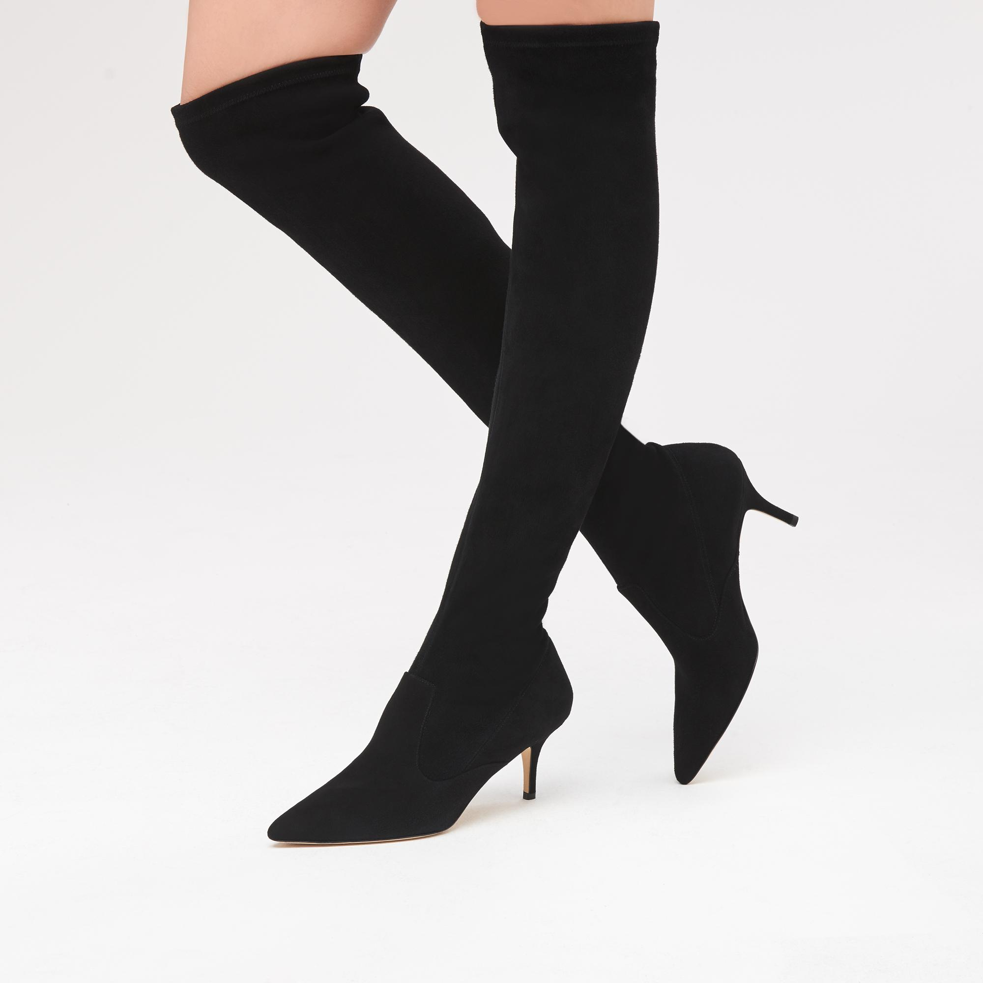 1b740b56b5aa Home · Shoes  Lillie Black Suede Knee Boots. Tap to zoom