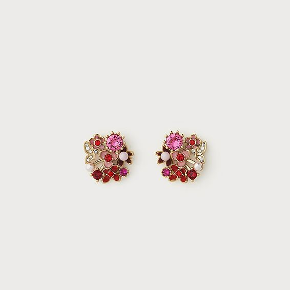 Martha Pink Crystal Flower Earrings