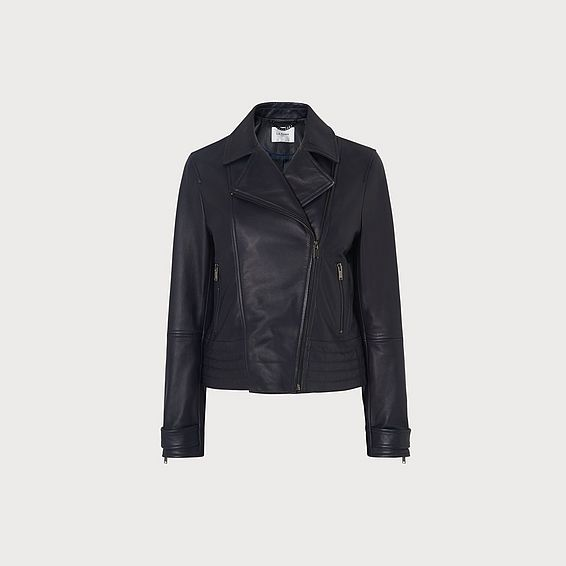 Amabel Navy Leather Jacket