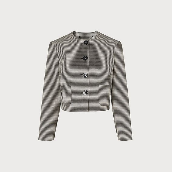Mableen Navy and Cream Stripe Jacket