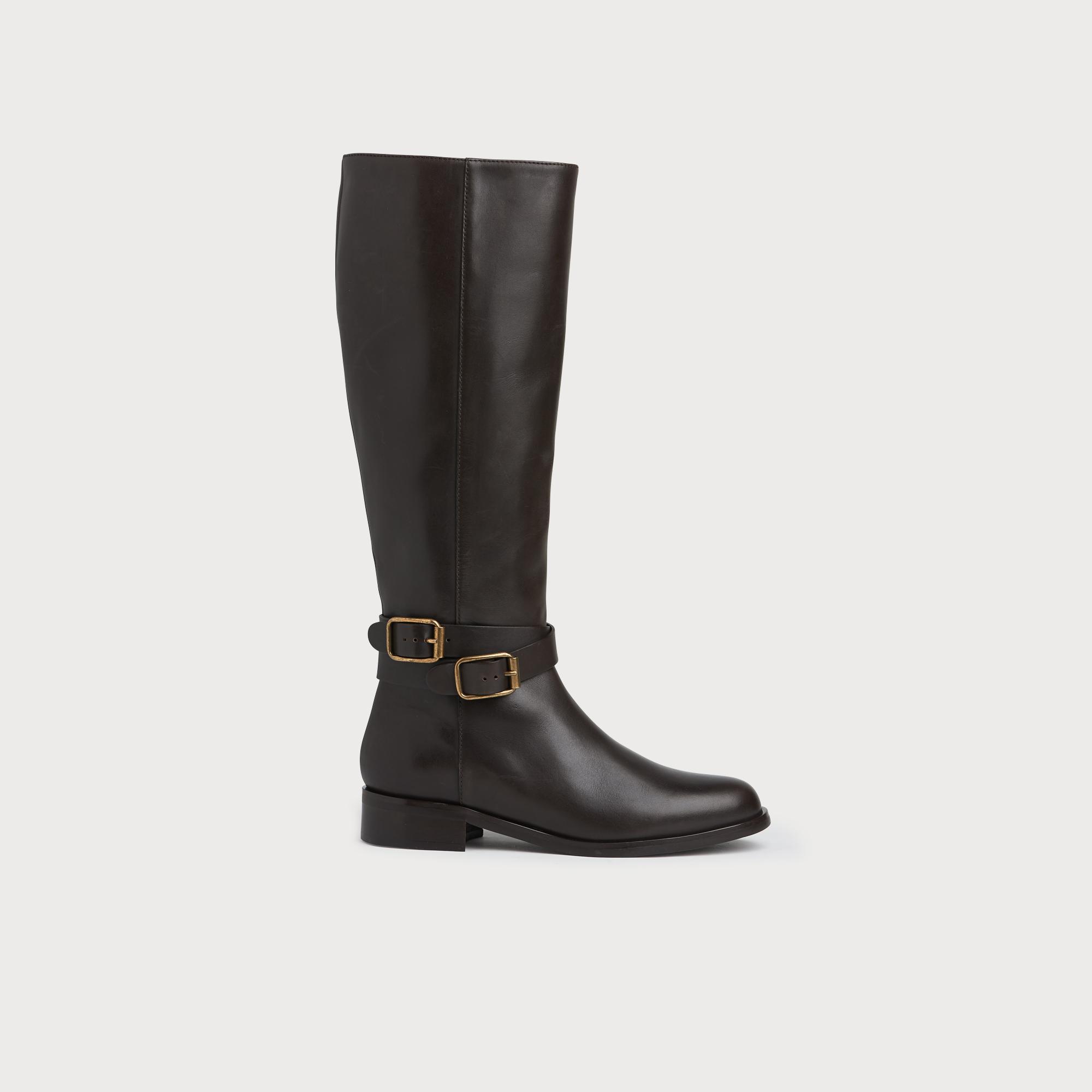 Brogan Dark Brown Calf Leather Knee Boots