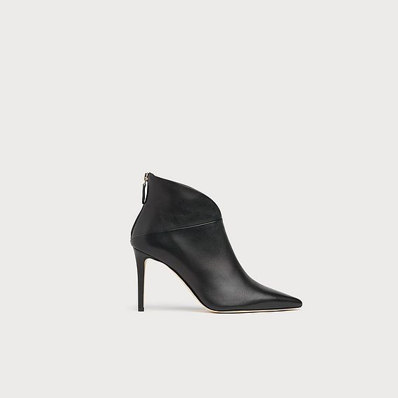 Jennifer Black Leather Ankle Boots