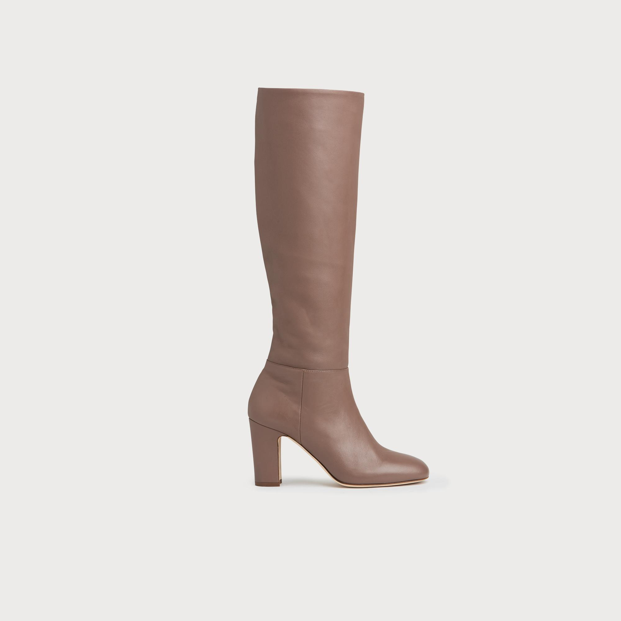 Kristen Nude Rose Nappa Leather Knee Boots