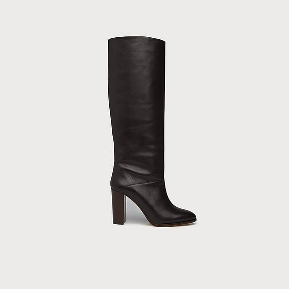 Zalia Brown Leather Knee Boots