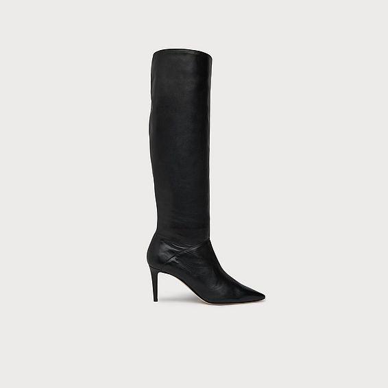Zena Black Leather Knee Boots