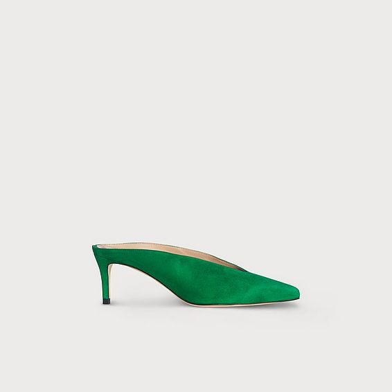 Celia Green Suede Mules