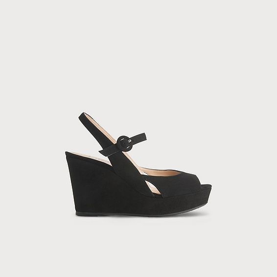Raisa Black Suede Wedge