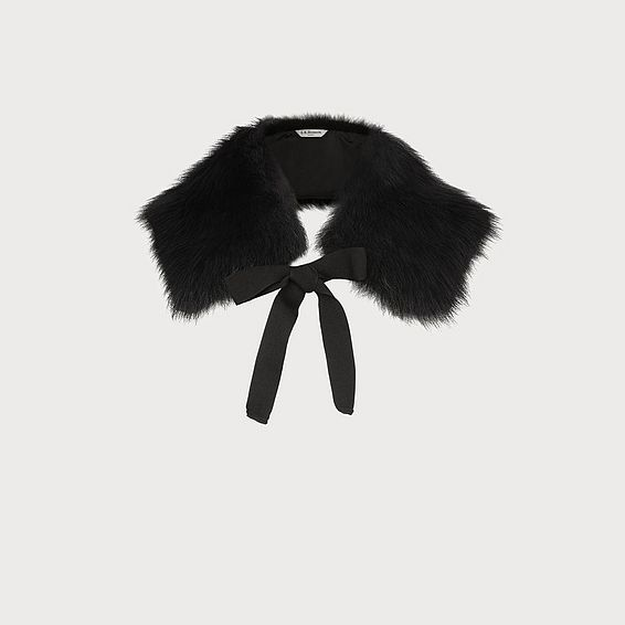Chatel Black Shearling Collar