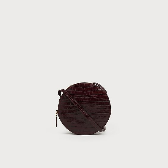 Luna Bordeaux Croc Effect Shoulder Bag
