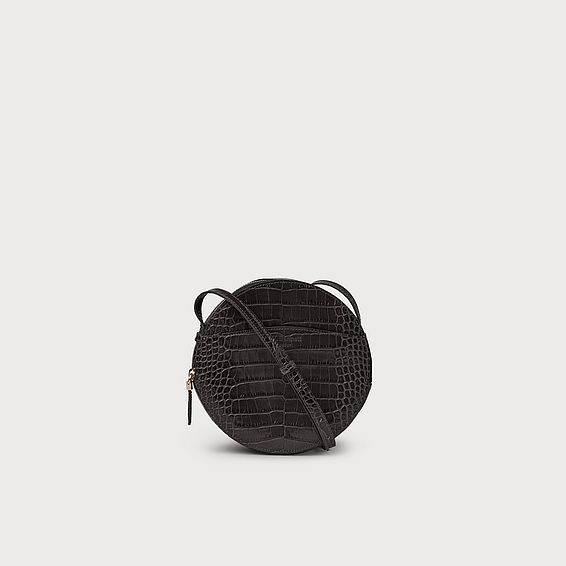 Luna Grey Croc Effect Shoulder Bag