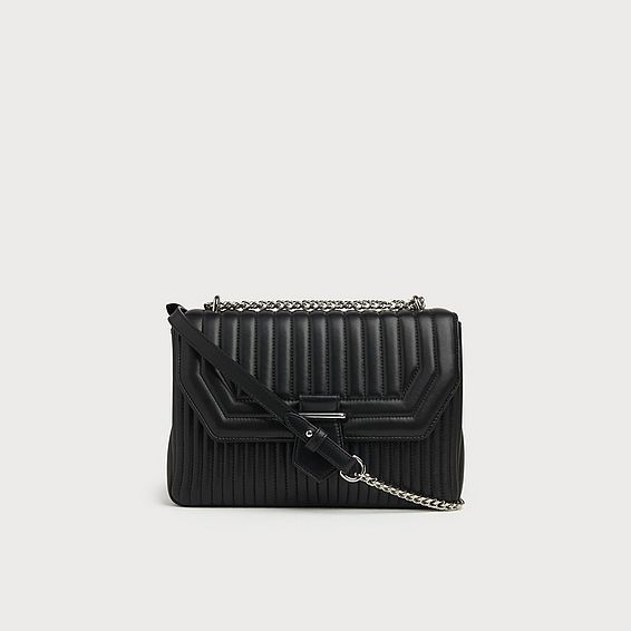 Maeve Black Leather Shoulder Bag