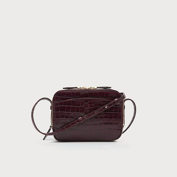 Mariel Bordeaux Croc Shoulder Bag