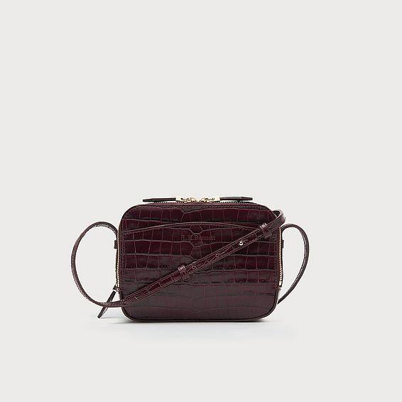 Mariel Bordeaux Croc Shoulder Bag