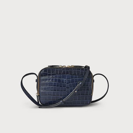 Mariel Navy Croc Shoulder Bag