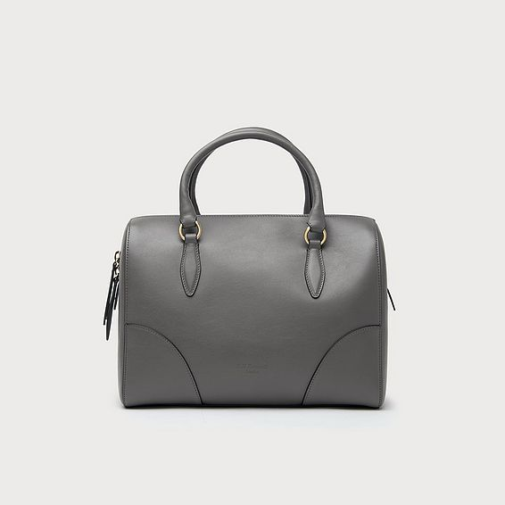Melanie Grey Leather Shoulder Bag