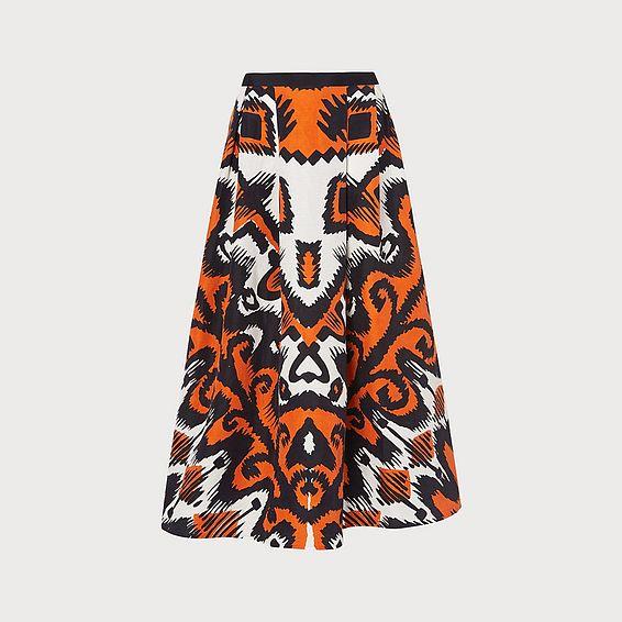 Andrea Orange Print Skirt