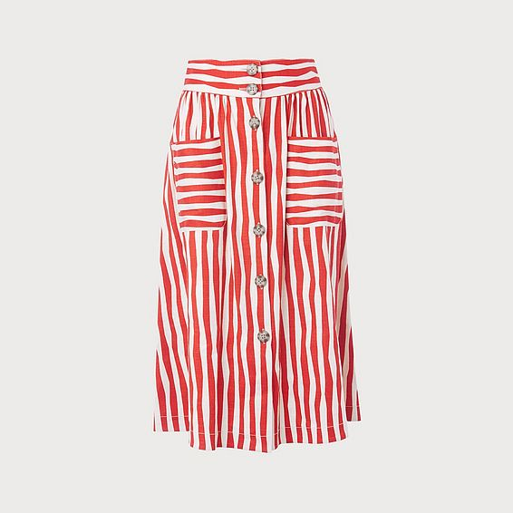 Annelin Red Stripe Skirt