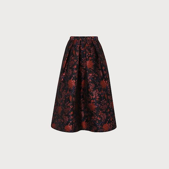 Delysia Black Print Skirt