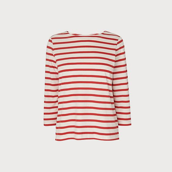 Trin Red and White Stripe Top