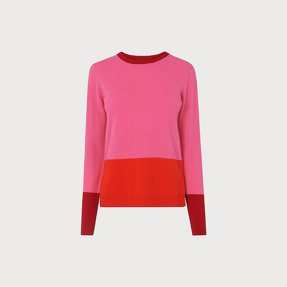 Carina Pink Color Block Sweater