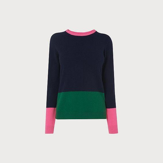 Carina Navy Color Block Sweater