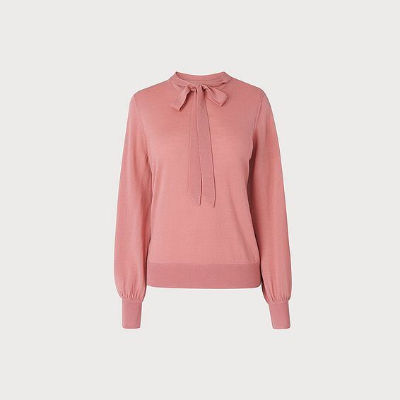 Ester Pink Tie Neck Sweater