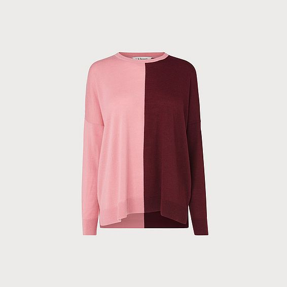 Fraya Red & Pink Colorblock Sweater