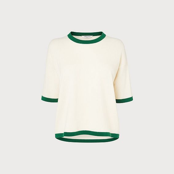 Tippie Green and Cream Cashmere Top