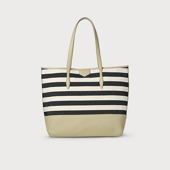 Peggy Navy Stripe Canvas Tote