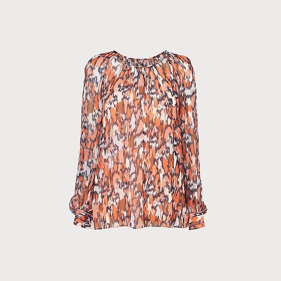 Agnes Orange Print Silk Top