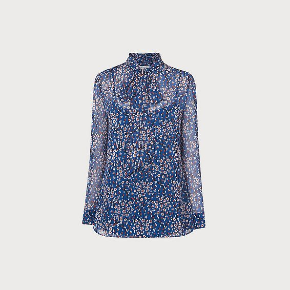 Alisa Blue Print Top