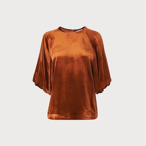 Noemi Rust Velvet Blouse