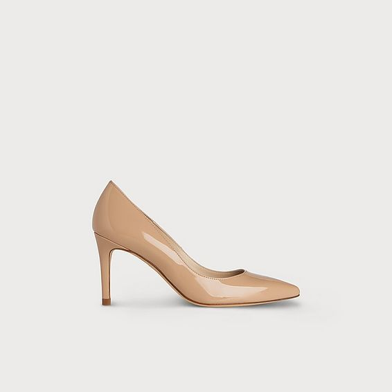 Floret Nude Patent Leather Heels