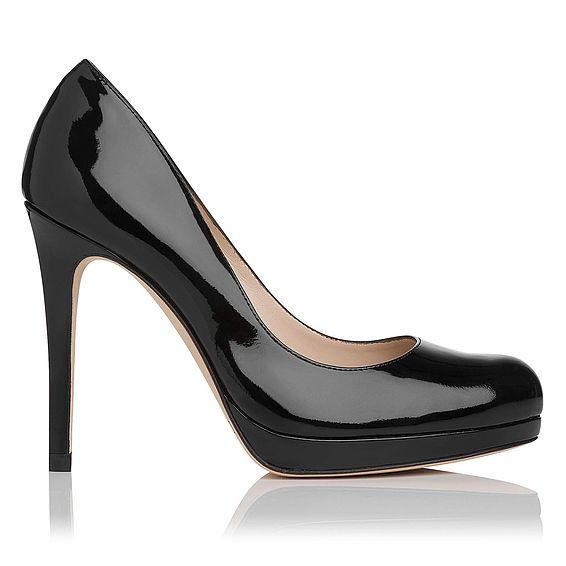 Sledge Patent Leather Black Heel