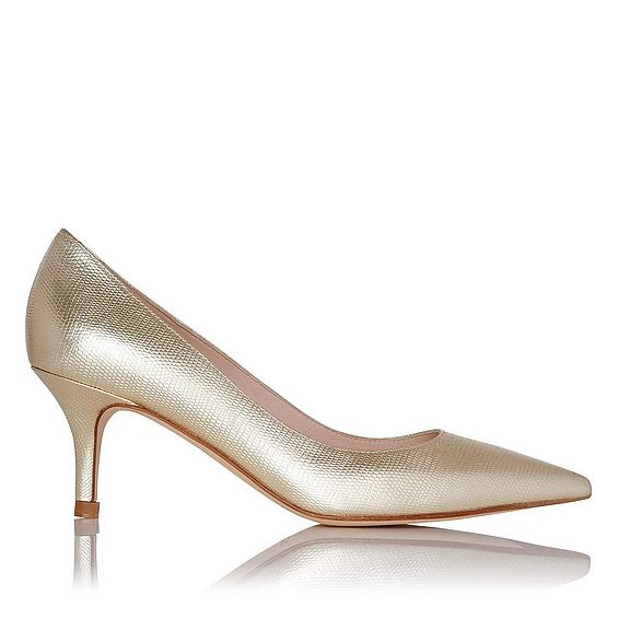Florisa Gold Metallic Leather Point Toe Heel