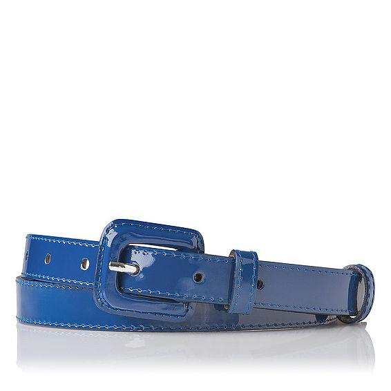 Genevra Patent Leather Skinny Belt