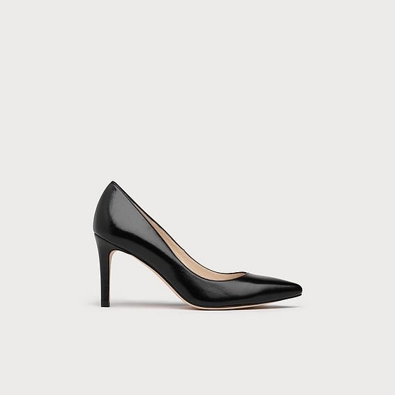 Floret Black Leather Heel