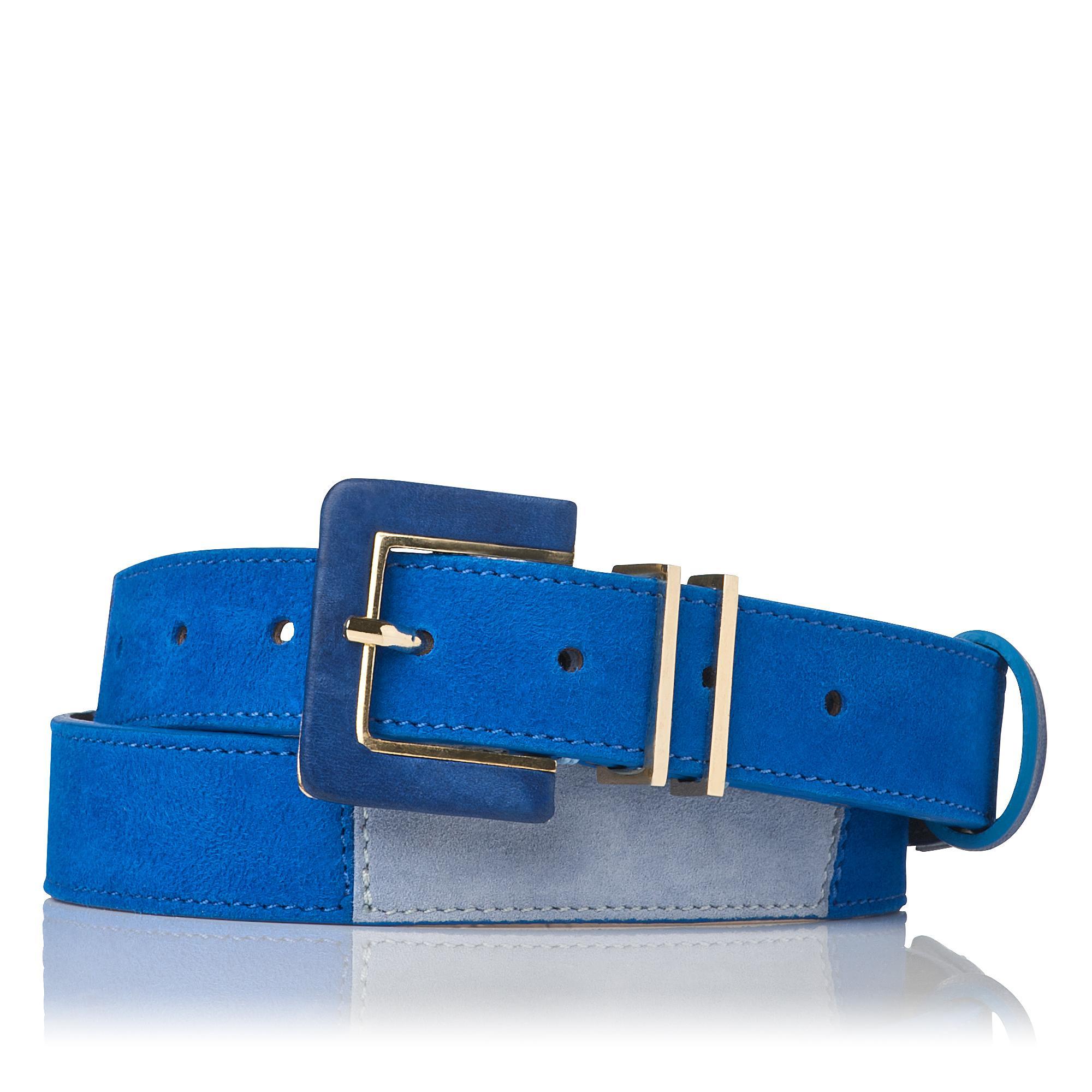 Gena Skinny Blue Suede Belt