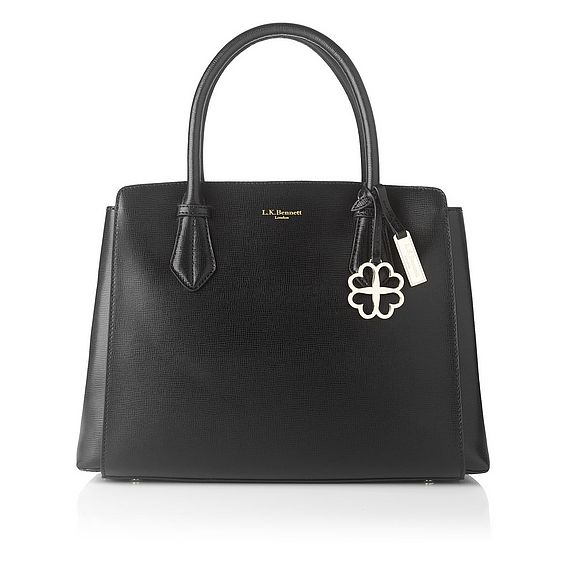 Catrina Black Saffiano Leather Tote