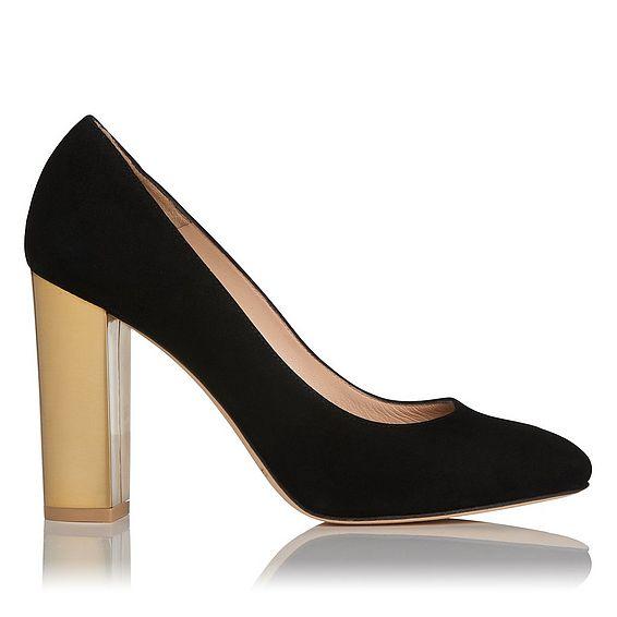 Manila Black Gold Suede Block Heel