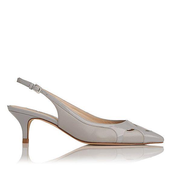 Rilla Gray Leather Open Heels