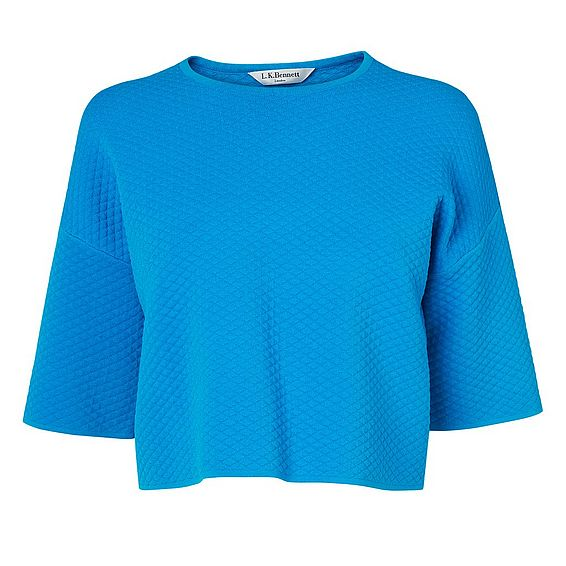 Alea Blue Textured Crop Top